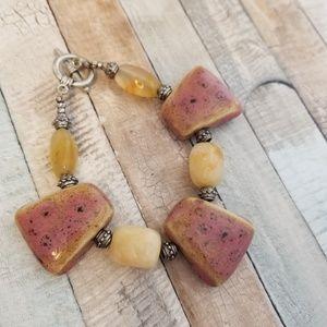 Natural stone necklace and bracelet set